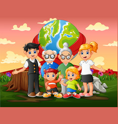 International world day with family members vector