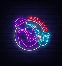 jazz club neon neon sign logo brilliant vector image