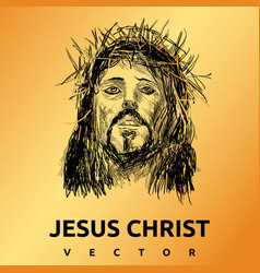 Jesus christ gold background vector