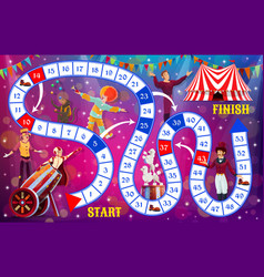 Kids board game circus funfair and clowns puzzle vector