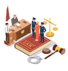 Law and justice isometric concept vector