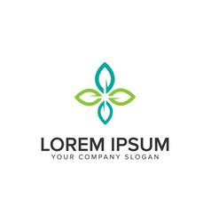 leaf nature decoration logo design concept vector image