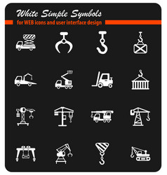 Lifting machines icon set vector