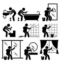 man cleaning bathroom toilet windows and mirror vector image