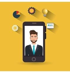 man idea gear symbol smartphone vector image