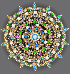 Mandala brooch jewelry design element geometric vector