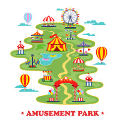 map of amusement park or circus with attractions vector image