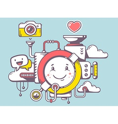 Mechanism with smile and relevant icons o vector