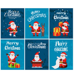 Merry christmas santa claus with presents set vector