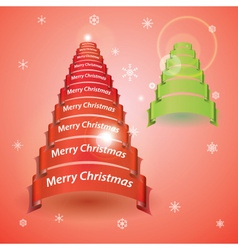 Merry christmas tree from red or green ribbon vector