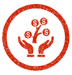 Money tree care hands rounded grainy icon vector
