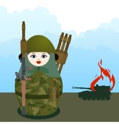 Nested doll with a grenade launcher vector
