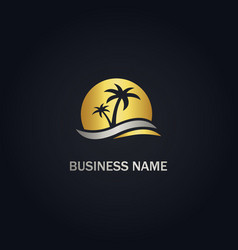 Palm tree sunset beach gold logo vector