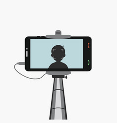 Phone in monopod selfie vector