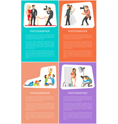 Photographer with camera internet banners set vector
