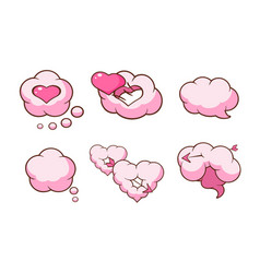 pink heart shaped clouds and speech bubbles set vector image