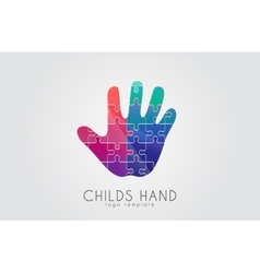 Puzzle hand child hand logo creative logo vector