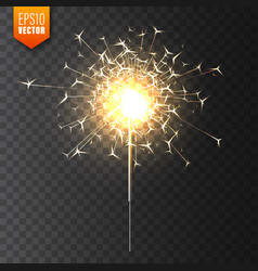 realistic christmas sparkler on transparent vector image
