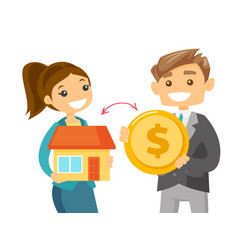 Realtor exchanging a house to the coin of a client vector