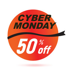 red cyber monday sale badge vector image