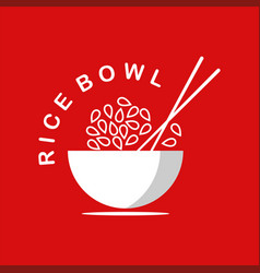 rice bowl logo with chopstick vector image
