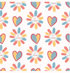 romantic rainbow i love you daisy flower hand vector image