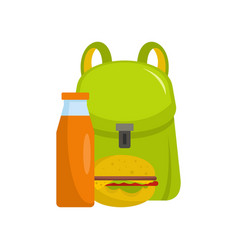 School lunch icon flat style vector