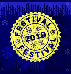 scratched festival stamp seal on winter background vector image