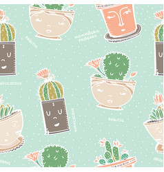 seamless pattern with cactus in pot with face vector image