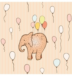 seamless pattern with flying elephant vector image