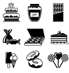 set confection icons vector image