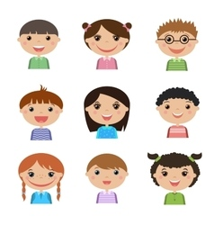 Set of diverse male and female avatars Simple vector image