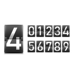 set of numbers digits in mechanical scoreboard vector image