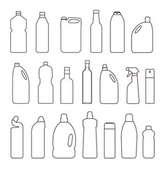 set of outline bottles cans vector image