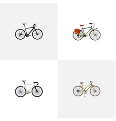 set of realistic symbols with postman track cycl vector image