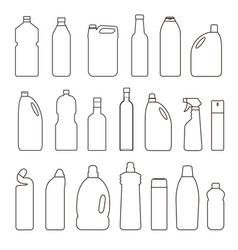 set outline bottles cans vector image