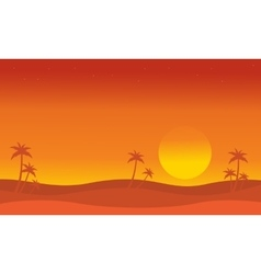 Silhouette of dessert with palm at sunset vector