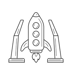 spaceship launch line icon vector image