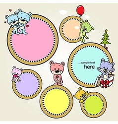 speech bubble or frame with cute bears vector image