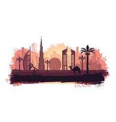 stylized kyline dubai with camel and date palm vector image