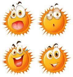 Sun with facial expressions vector image