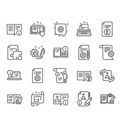 technical documentation line icons set of vector image