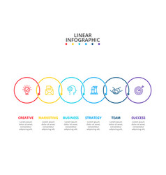 Thin line flat elements for infographic with 6 vector