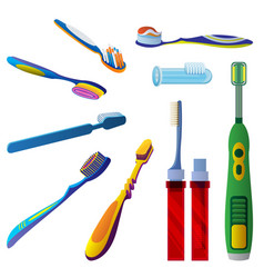 Toothbrush icon set cartoon style vector