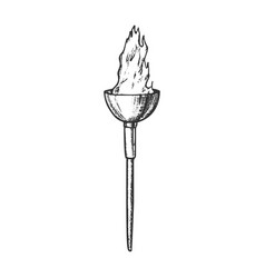 torch light decorative flame stick retro vector image