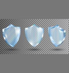 Transparent glass shields realistic vector