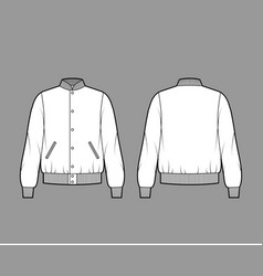 Varsity bomber jacket technical fashion vector