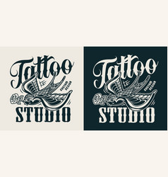 vintage tattoo studio logotype vector image