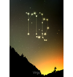 virgo zodiac constellations sign with forest vector image