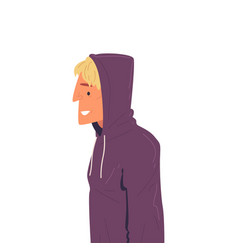 Young man in hoodie side view vector